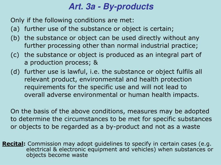 Art. 3a - By-products
