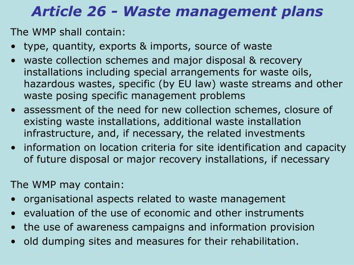 Article 26 - Waste management plans