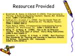 resources provided
