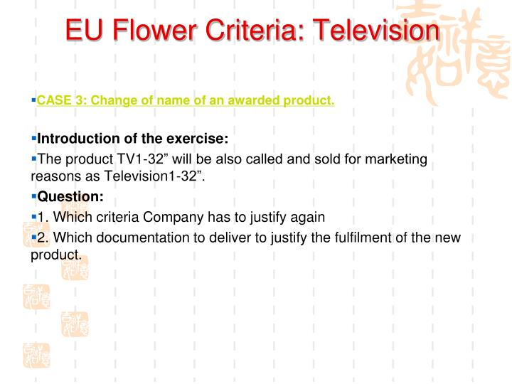 EU Flower Criteria: Television