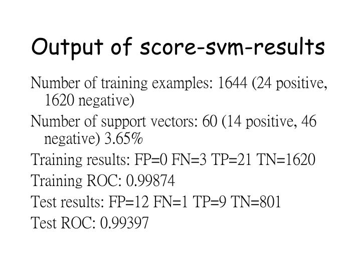 Output of score-svm-results