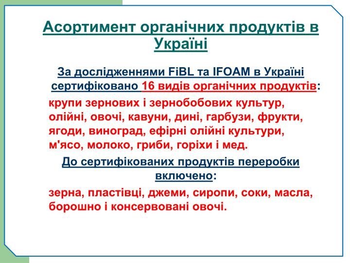 Асортимент органічних продуктів в Україні