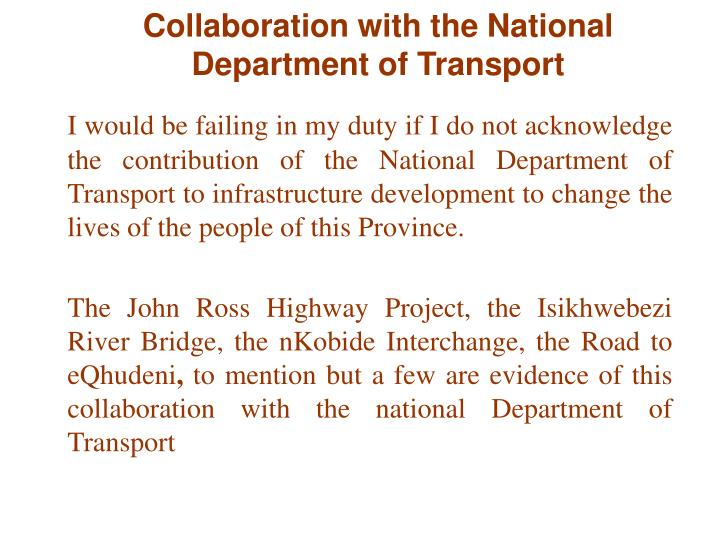 Collaboration with the National Department of Transport
