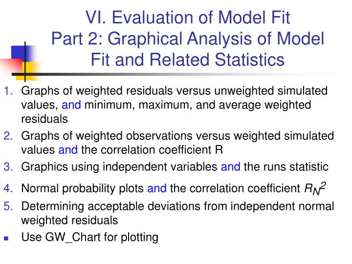 Vi evaluation of model fit part 2 graphical analysis of model fit and related statistics