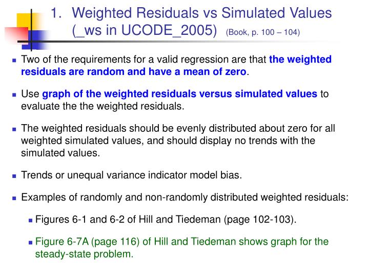 Weighted residuals vs simulated values ws in ucode 2005 book p 100 104