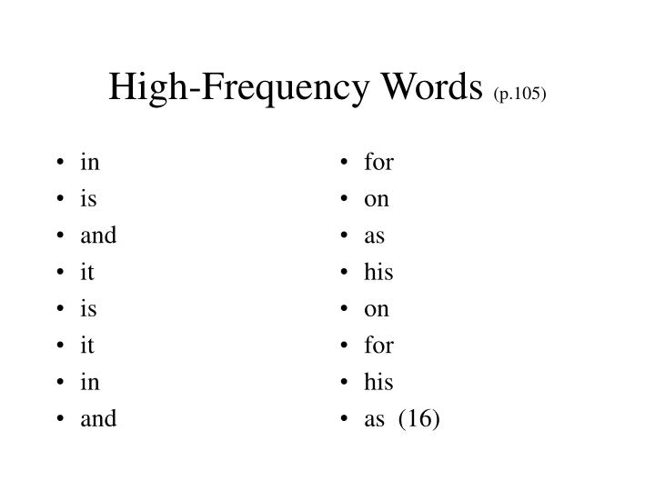 high frequency words p 105 n.