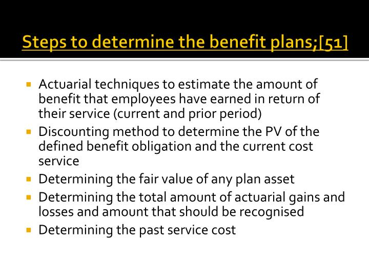 Steps to determine the benefit plans;[51]