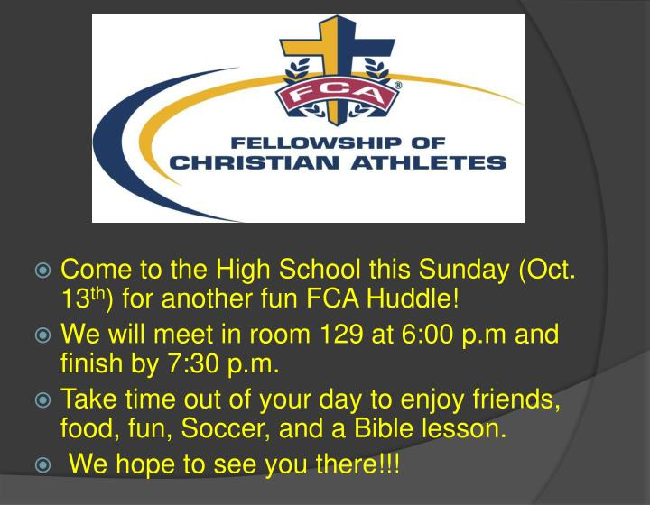 Come to the High School this Sunday (Oct. 13