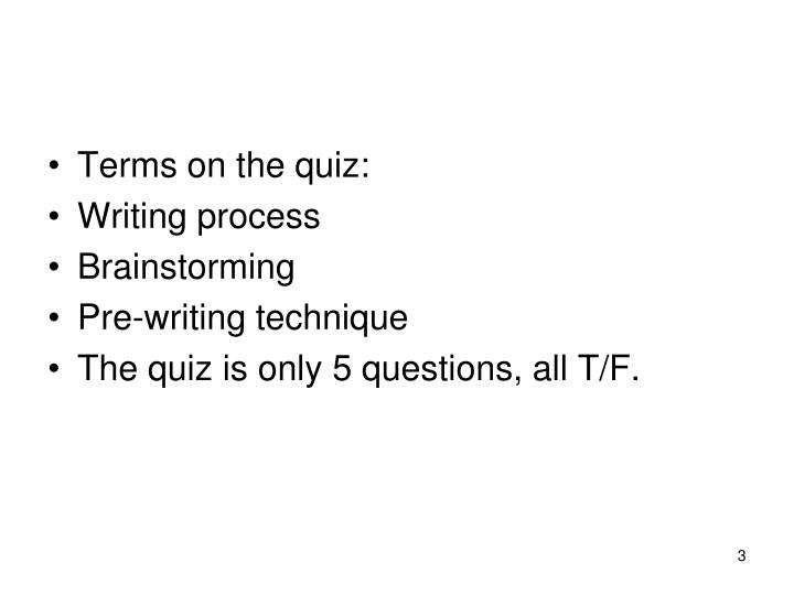 Terms on the quiz: