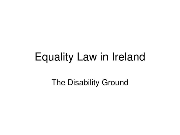 equality law in ireland n.
