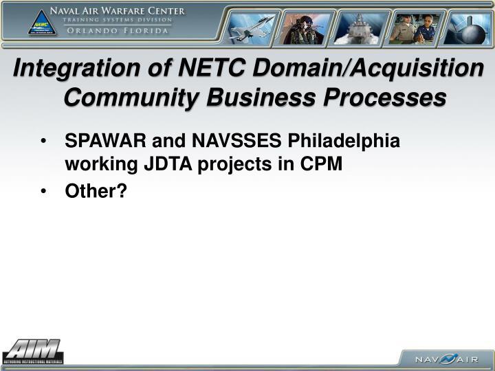 Integration of NETC Domain/Acquisition Community Business Processes