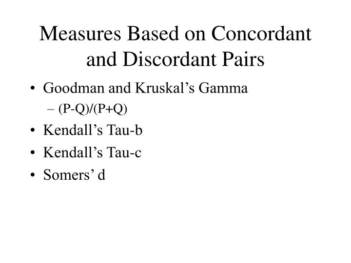 Measures Based on Concordant and Discordant Pairs