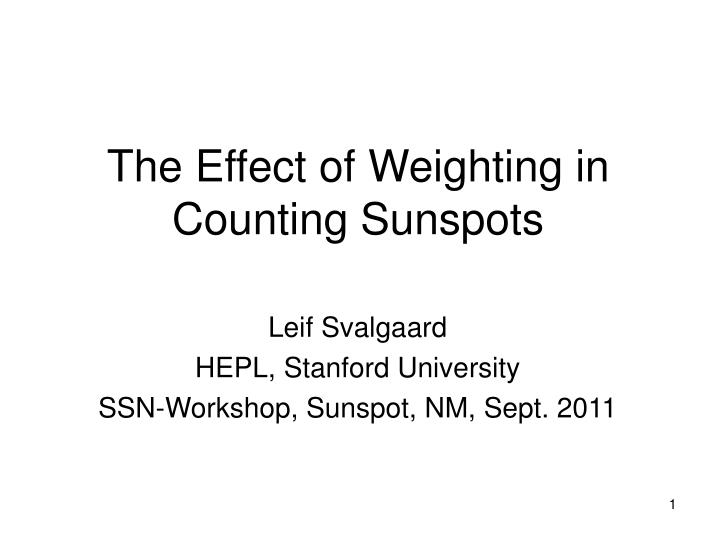 the effect of weighting in counting sunspots n.