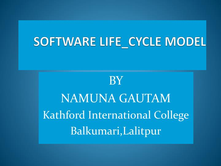 software life cycle model n.