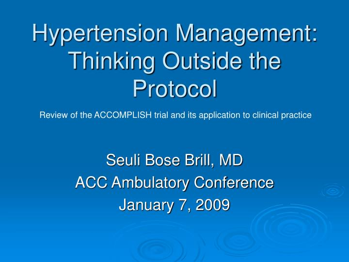 hypertension management thinking outside the protocol n.