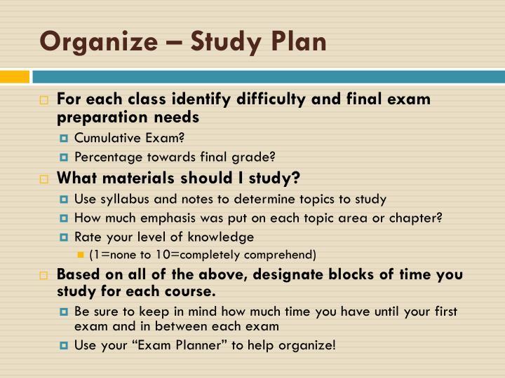 Organize – Study Plan