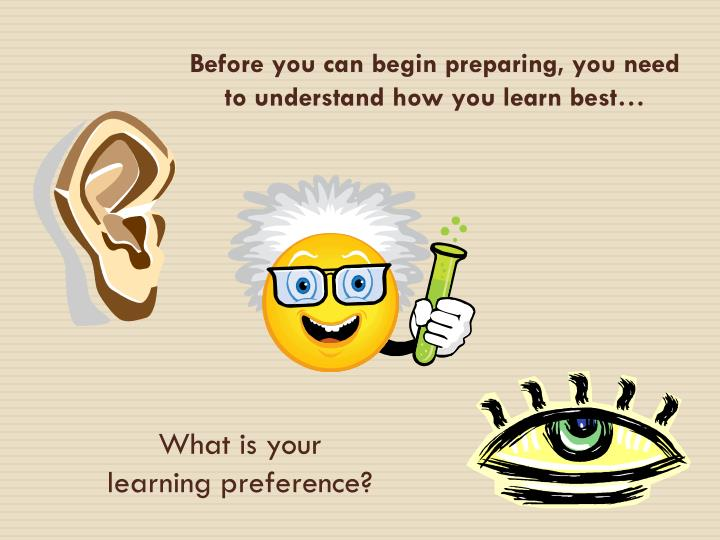 Before you can begin preparing, you need to understand how you learn best…