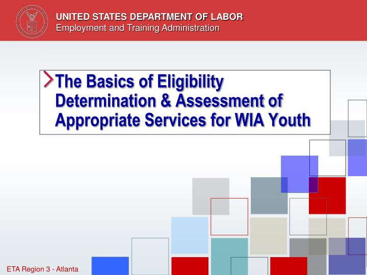 the basics of eligibility determination assessment of appropriate services for wia youth n.