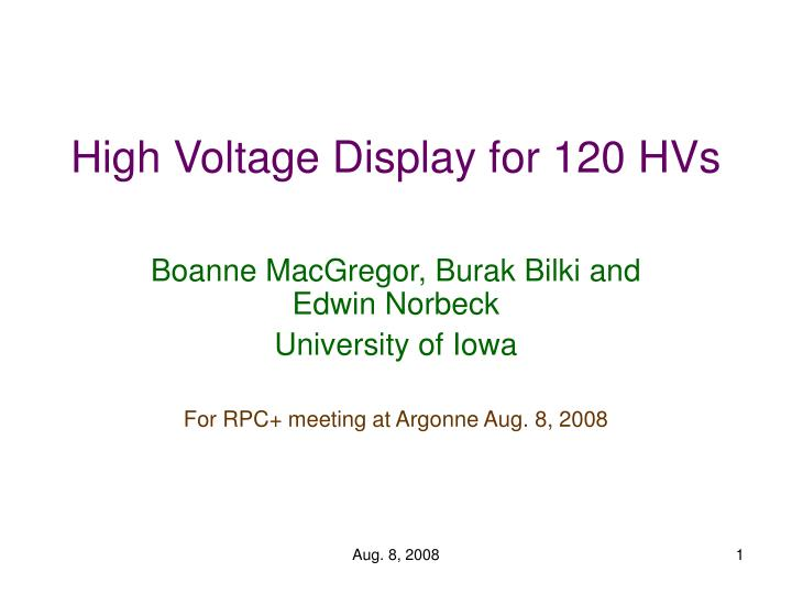 high voltage display for 120 hvs n.