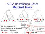 args represent a set of marginal trees