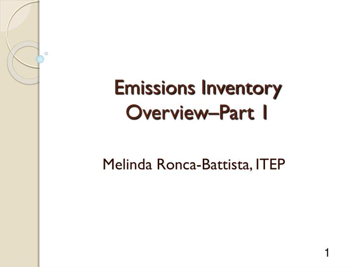 emissions inventory overview part 1 n.