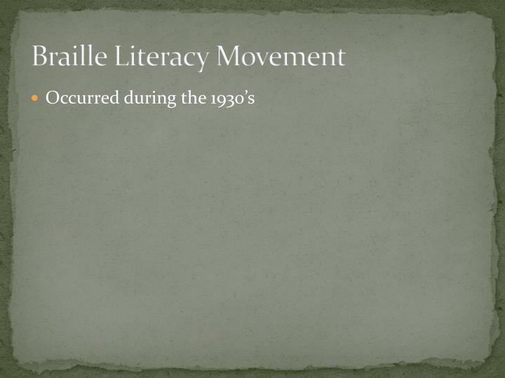Braille literacy movement