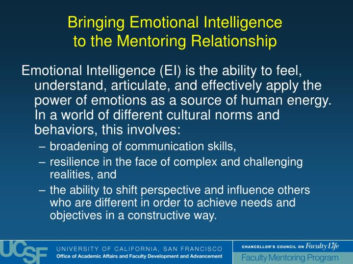 Emotional Intelligence (EI) is the ability to feel, understand, articulate, and effectively apply the power of emotions as a source of human energy.  In a world of different cultural norms and behaviors, this involves: