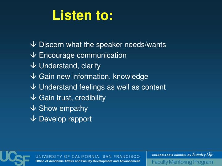 Discern what the speaker needs/wants