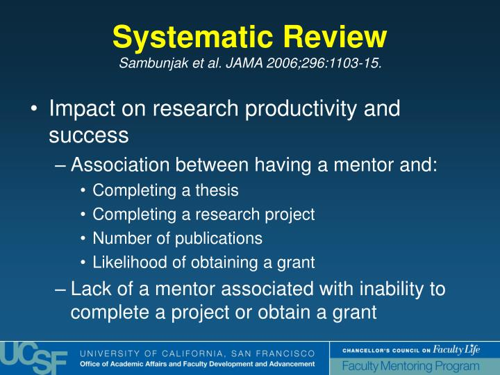 Impact on research productivity and success