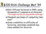 100 rsa challenge met 94