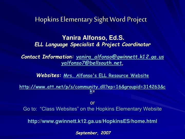 hopkins elementary sight word project n.
