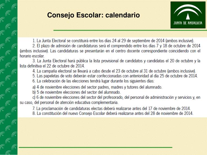 Consejo Escolar: calendario