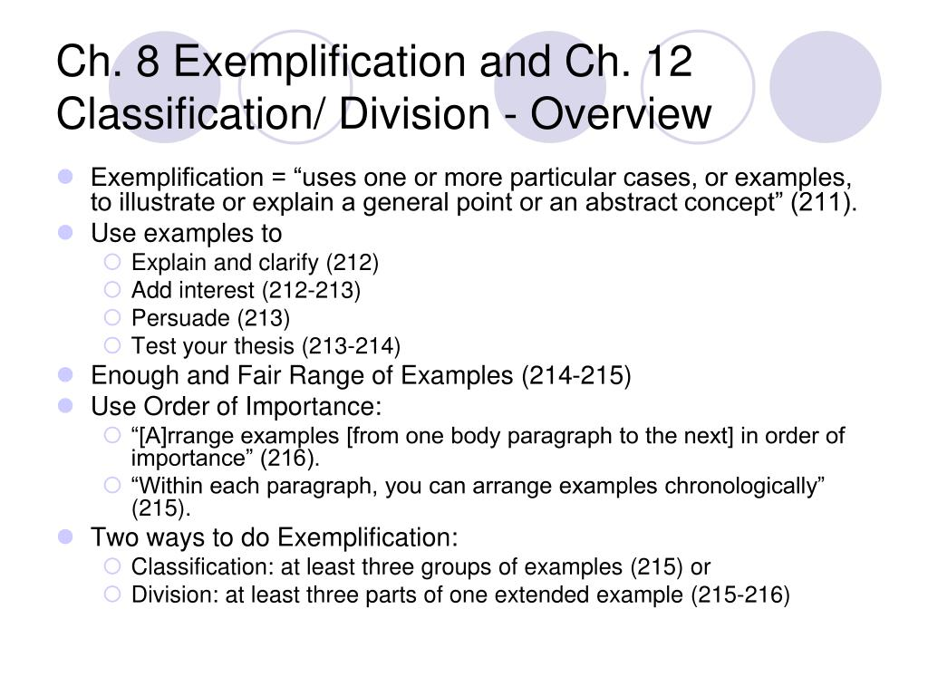 classification and division paragraph