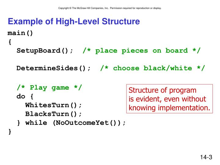 Example of high level structure