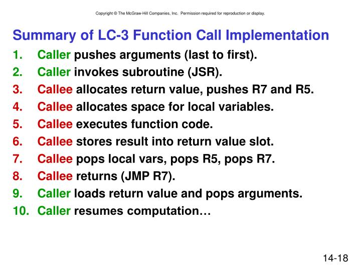 Summary of LC-3 Function Call Implementation