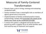 measures of family centered transformation