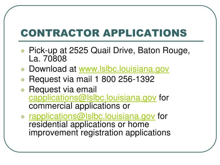Contractor applications
