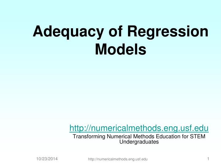adequacy of regression models n.