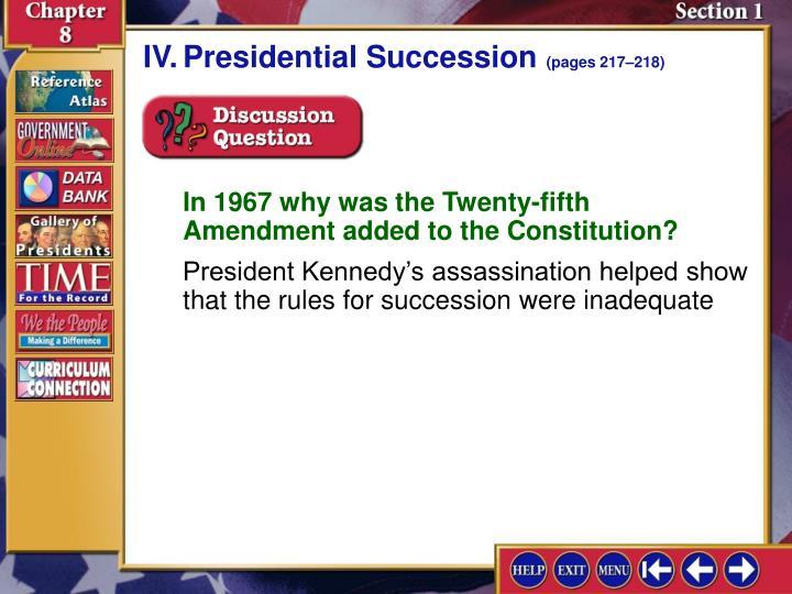 IV.Presidential Succession