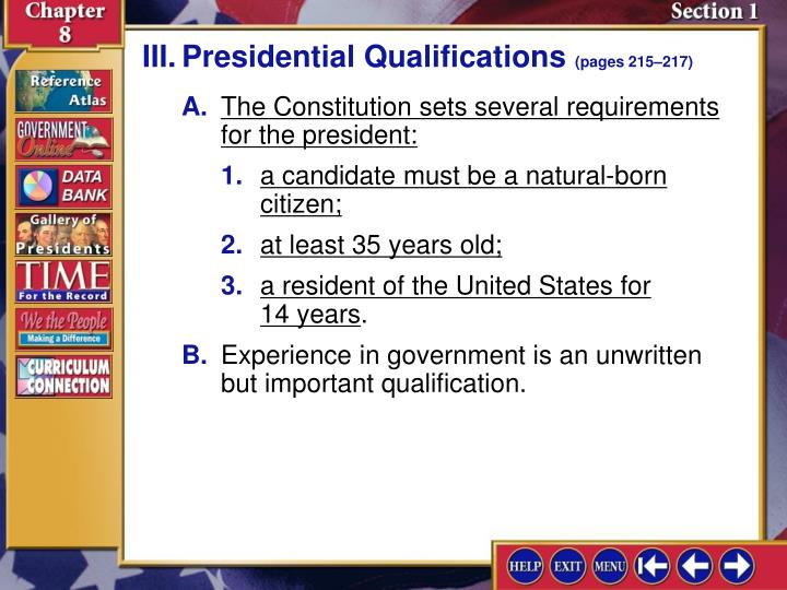 III.Presidential Qualifications