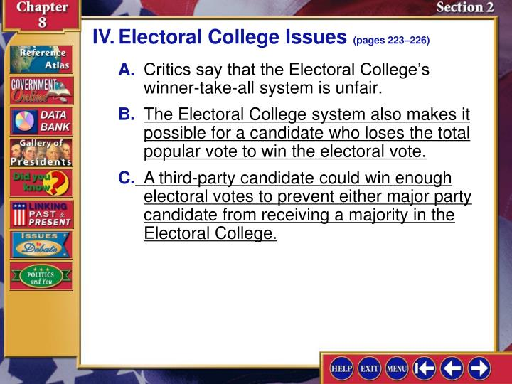 IV.Electoral College Issues