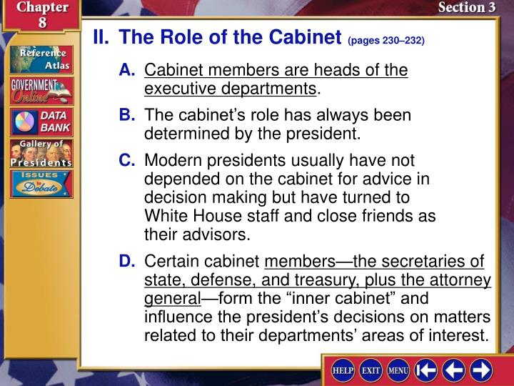 II.The Role of the Cabinet