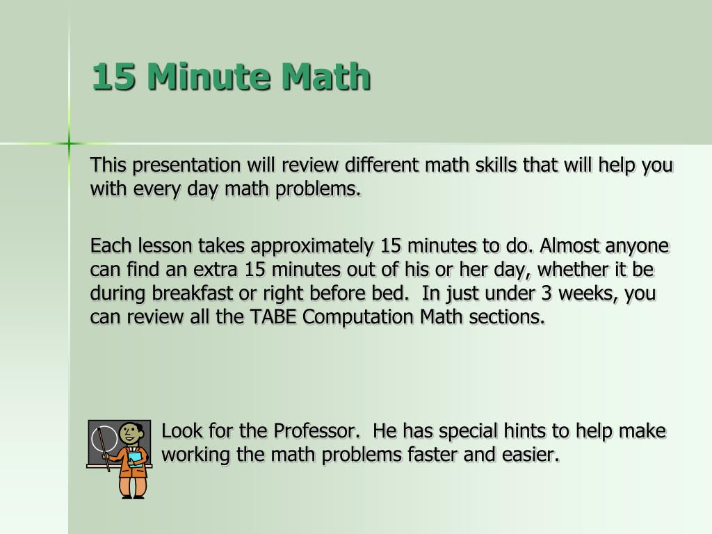 ppt - 15 minute math powerpoint presentation
