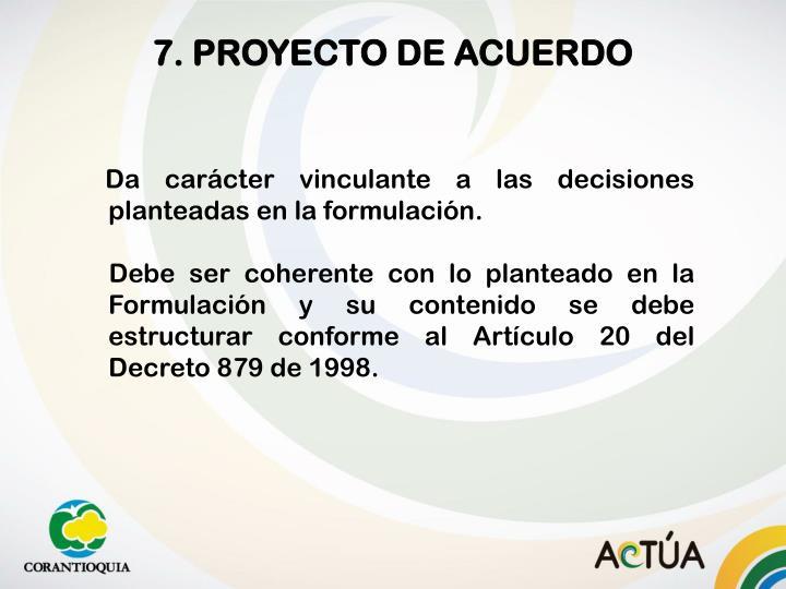 7. PROYECTO DE ACUERDO