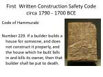 first written construction safety code circa 1790 1700 bce