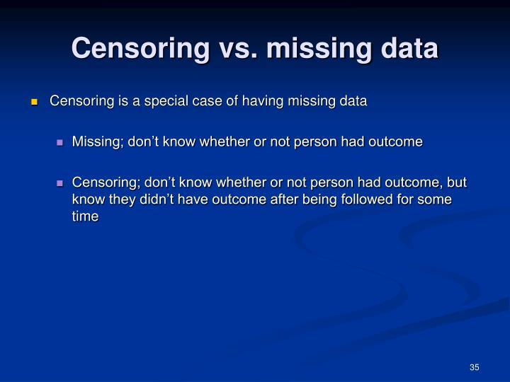 Censoring vs. missing data