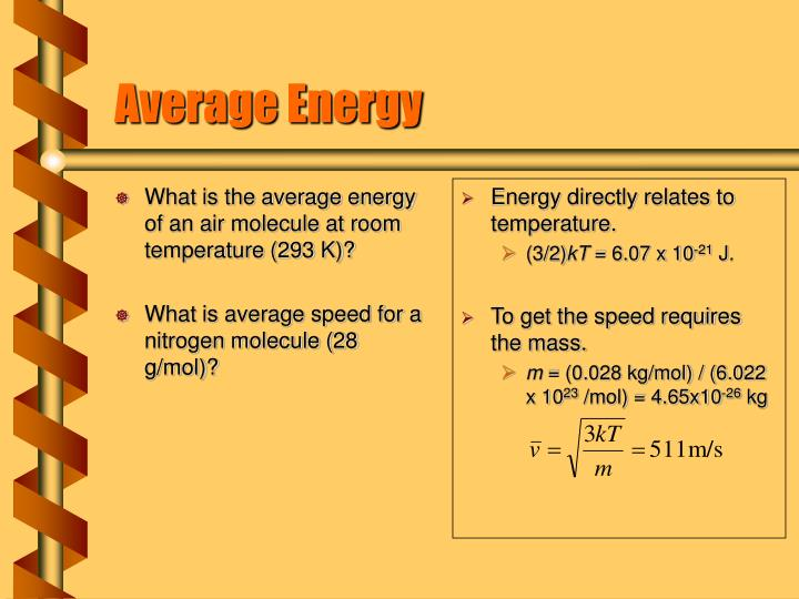 What is the average energy of an air molecule at room temperature (293 K)?