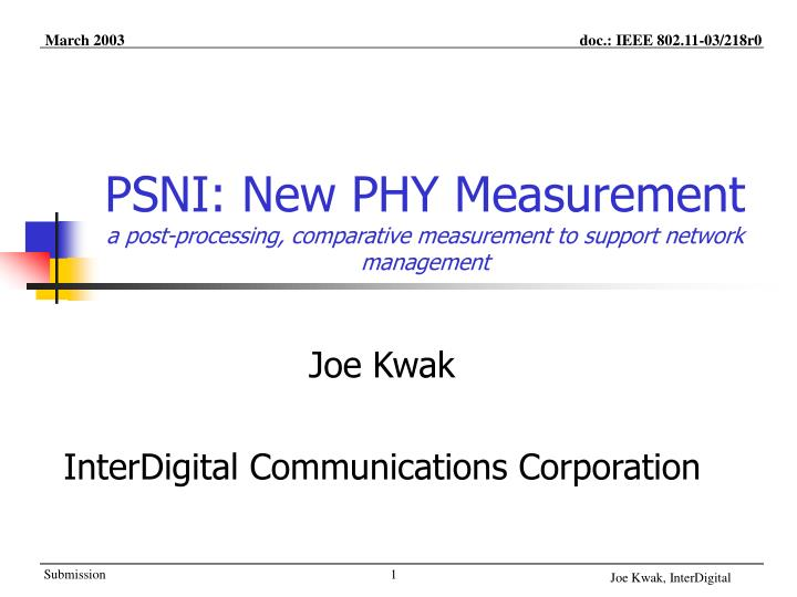 psni new phy measurement a post processing comparative measurement to support network management n.