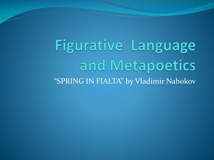 figurative language and metapoetics n.