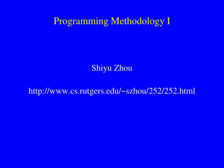 programming methodology i n.